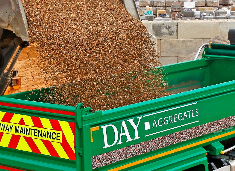 Aggregate pouring into Day Aggregate truck