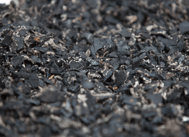 close up of arena rubber chippings